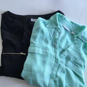 Set of 2 NY&CO Blouses Black Mint Green Sz Medium